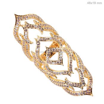 Indian Micro Pave Diamond Jewelry Exporter 18k Yellow Gold Design