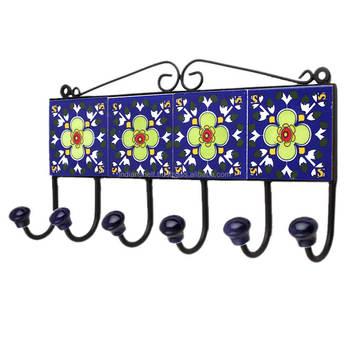 Handmade Ceramic Multicolor Indian Tiles Wall Hooks Hangers Hk 456