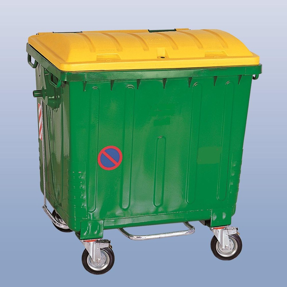Hot Dip Galvanized Metal Waste Container 1100l With Plastic Lid ...