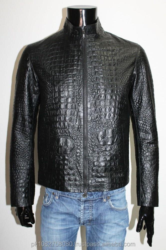 Veste en cuir de crocodile homme