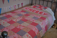Beautiful Childrens Patchwork Customised Personalised Quilt. Childrens Bedding, Nursery Bedding, Single Bed size patchwork quilt