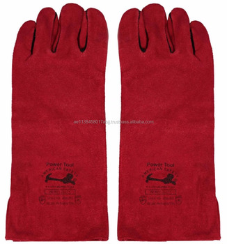 Cow Split Leather Welding Gloves Safety Gloves CE and EN Approved Full Black Leather Piping