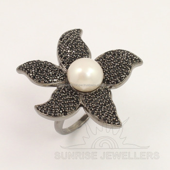 925 Sterling Silver Flower Design Natural PEARL & SPINEL micro Pave Ring Any Size GIFT
