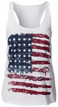 American Flag Printed Tank Top Vest Shirt For Women