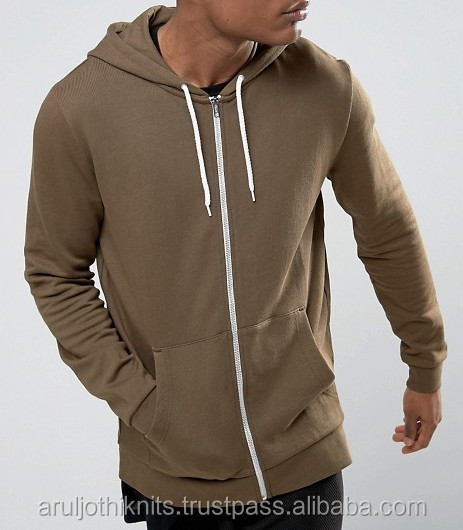 Men's full open zipper hoodie in Khaki colour