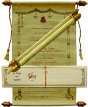 Handmade Paper Scroll Invitations for wedding stationers, invitation designers, wedding card manufacturers