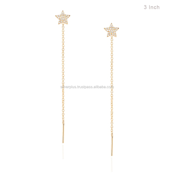 H Color Si Diamond Star 14k Gold Dangle Chain Long Thread Earrings