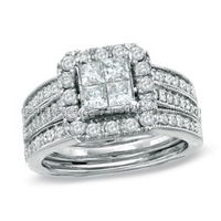 1-1/2 CT. T.W. Princess Cut Quad Diamond Bridal Set in 14K White Gold Diamonds Drop Earrings Bracelets Ring