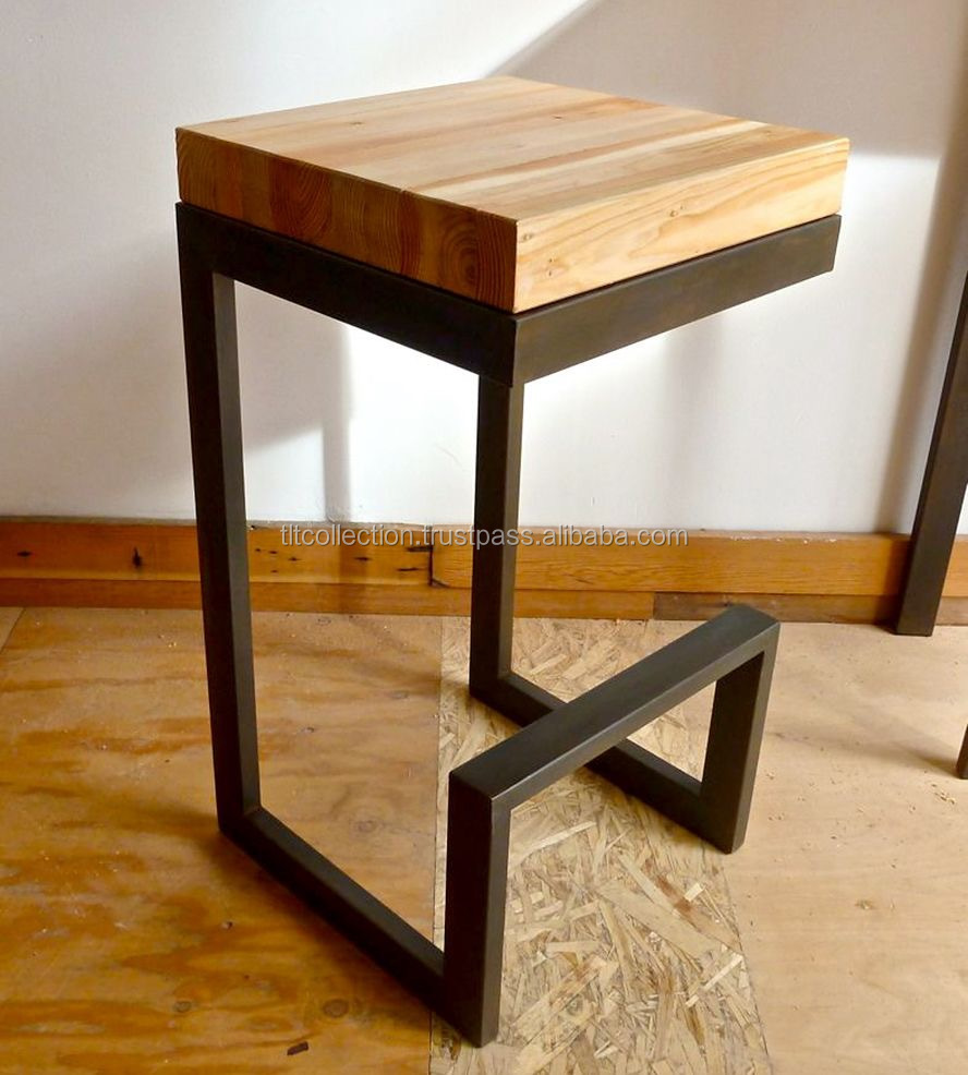 Metal Bar Stool With Back Rest And Wood Seat Vintage Designer Homemade Stools Retro Stackable