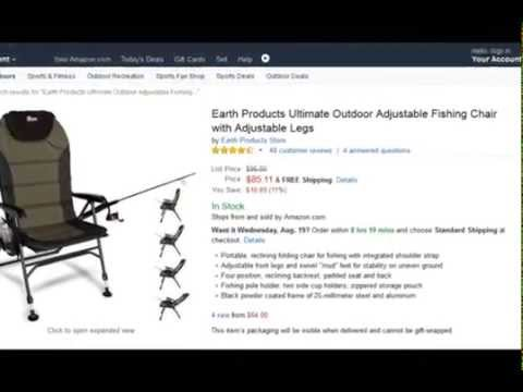 get quotations earth products ultimate outdoor adjustable fishing chair with adjustable legs