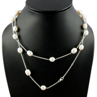 Love Attraction Fresh Water Pearl 925 Sterling Silver Necklace, Wholesale Silver Jewelry, Gemstone Silver Jewelry