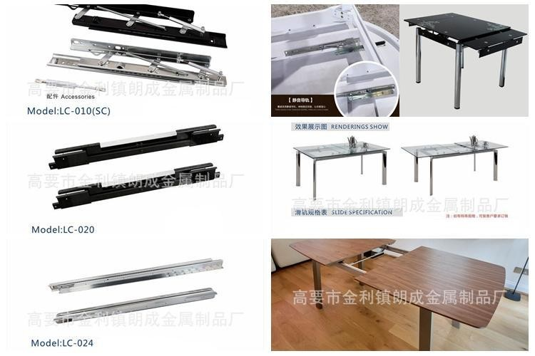 cable synchronized movement expandable table top slide rail