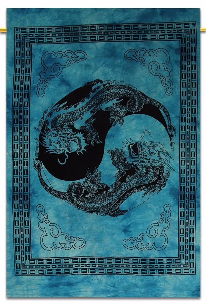 Jaipuri Tie Dye Dragon Tapestry, Indian Poster, Good Luck Wall Hanging Dorm Room Decor Yoga Mat