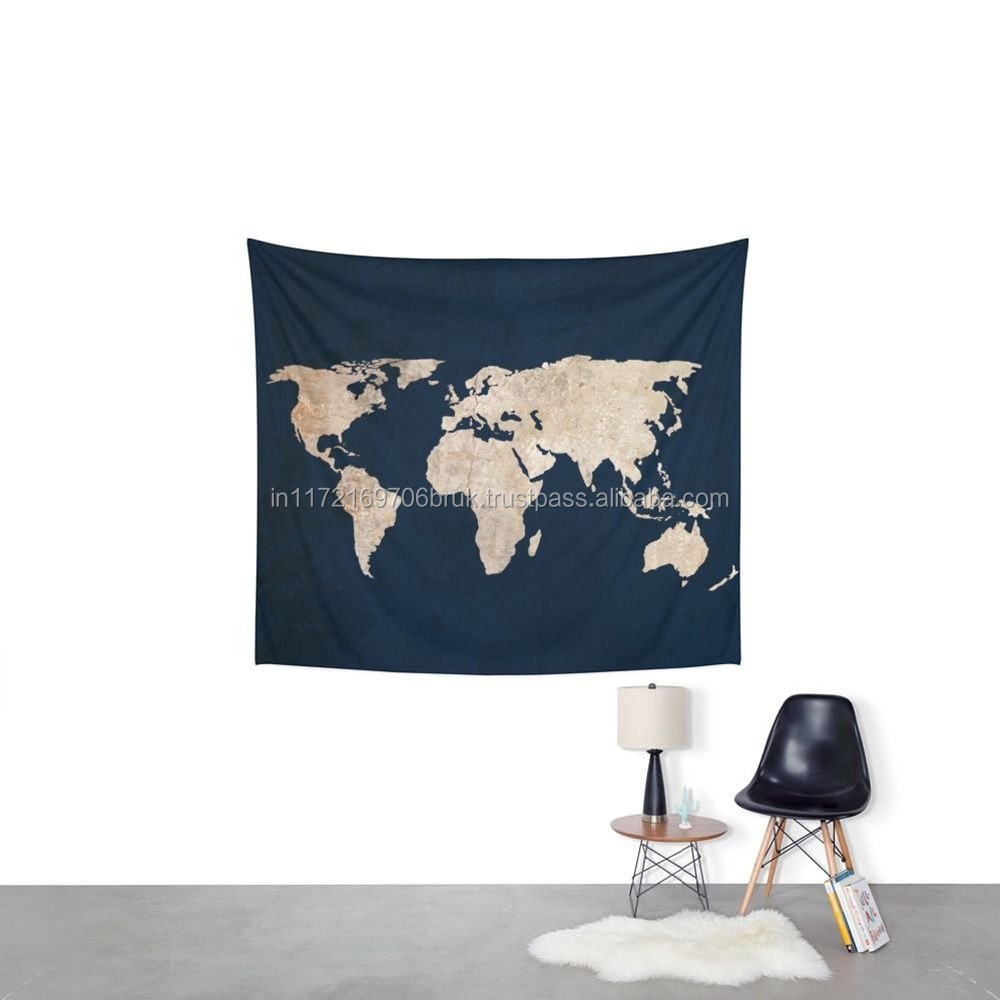 Pure Organic Cotton Handmade Black Inverted Rustic World Map Twin Wall Tapestry By Raajsee