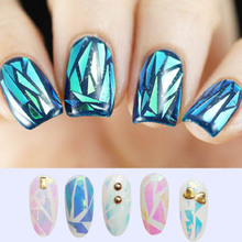 6Colors NEW Bling Nail Art Stickers Broken Glass Pieces Mirror Foil Stencil Decals Beauty Decoration Tools DIY