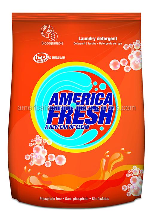 America Fresh Powder Laundry Detergent Private Lavel 500 gr, 1.1 lb. Bag manufacturer supplier