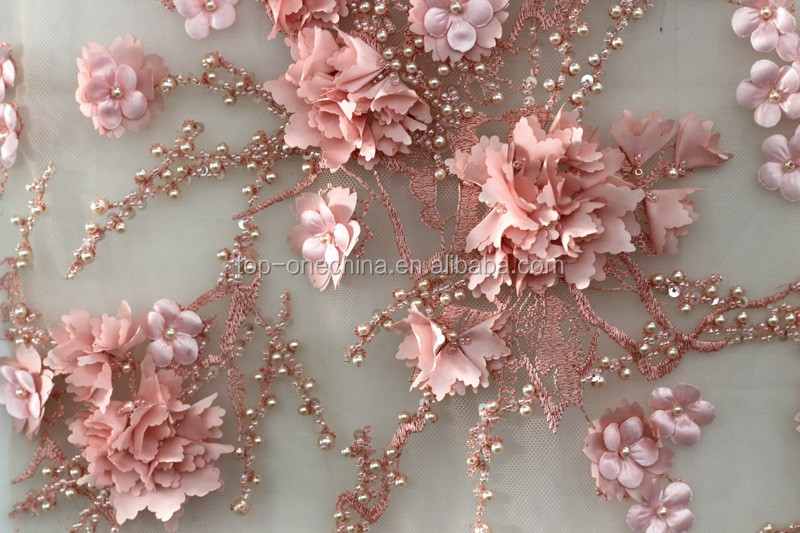 2018 3d flower lace handwork french lace fabric for Bridal fabric
