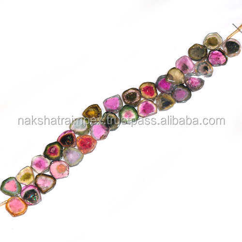 AA Quality Natural Watermelon Tourmaline Slice Loose Beads Strand