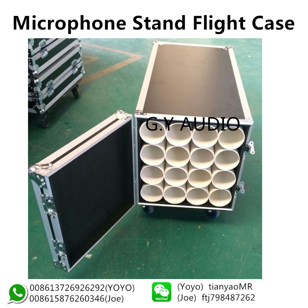 Customized China manufacture aluminum 16 way microphone stands flight case