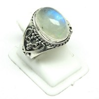 Natural Gemstone Rainbow Moonstone 925 Sterling Silver Ring, Handicraft Silver Jewelry, Online Silver Jewelry