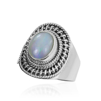 Handmade White Rainbow Moonstone Gemstone 92.5 Sterling Silver Ring