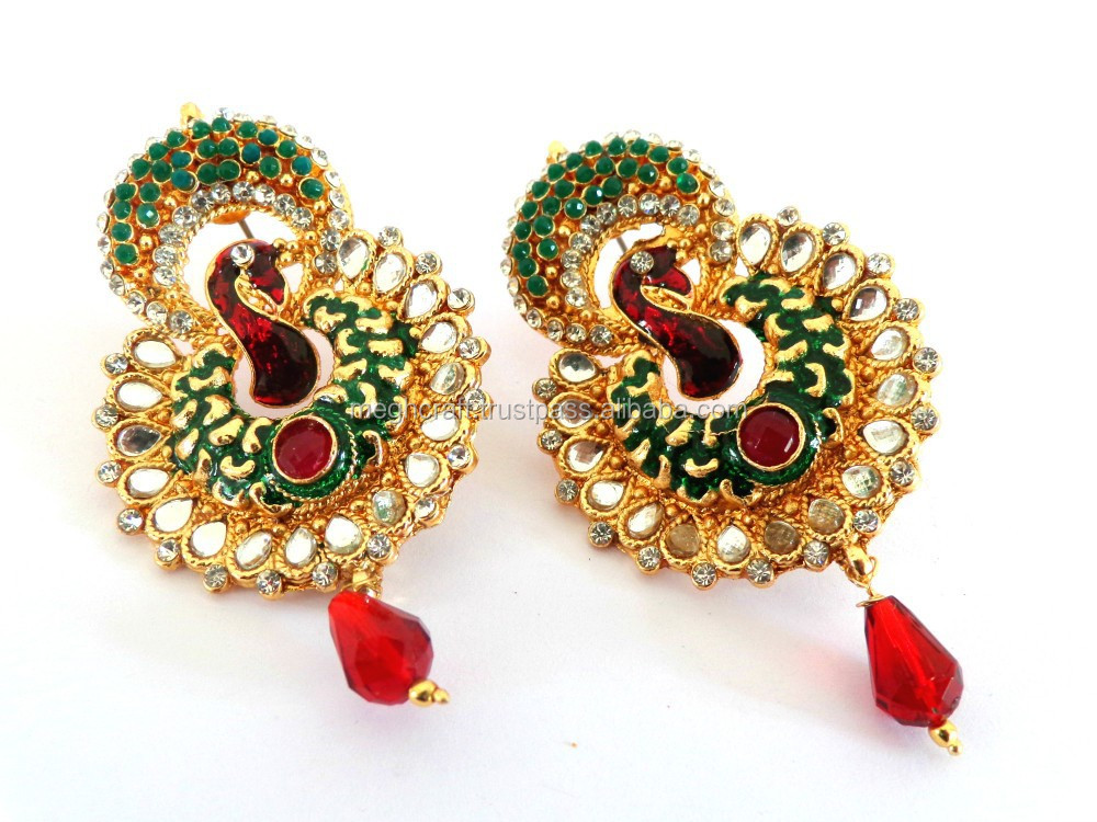 Meenakari Earring Bollywood Pea One Gram Gold Earrings South Indian Online Whole Jewelry Pearl Puddles Soth