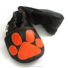 soft sole baby shoes Leather chaussons paw print orange on black 0 6 m ebooba
