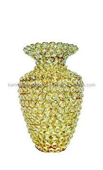 hand made gold crystal home decor flower vase pot - buy decoration