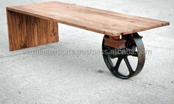 산업 커피 테이블 최종 테이블 철 금속 한 바퀴 나무 상단 커피 ...