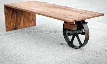 Coffee Table End Iron Metal One Wheel With Wooden Top Manufacturer Whole