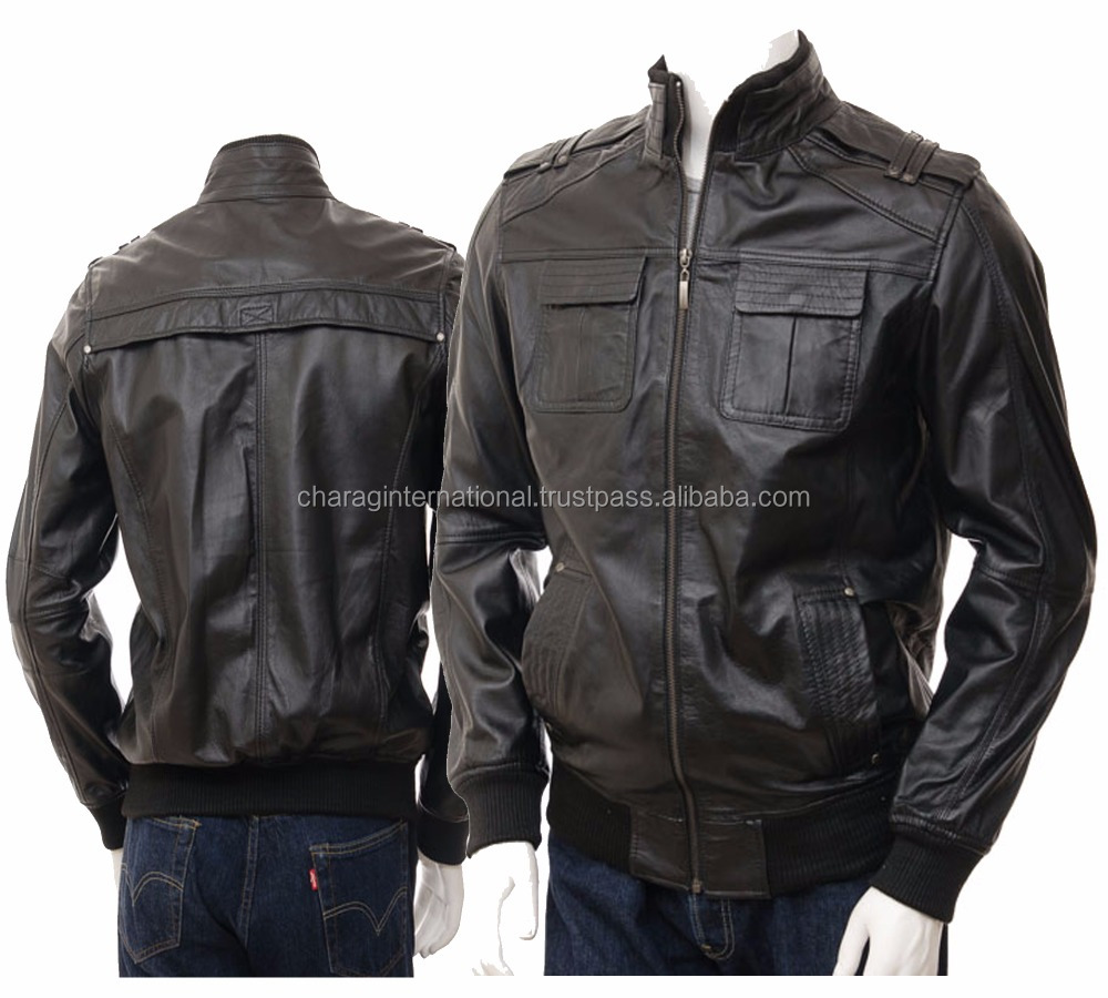 Men's Real Sheep leather jacket fashion design warm up hot sell