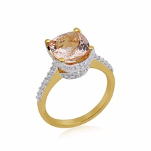 new latest design diamond morganite gemstones 10k gold ring price