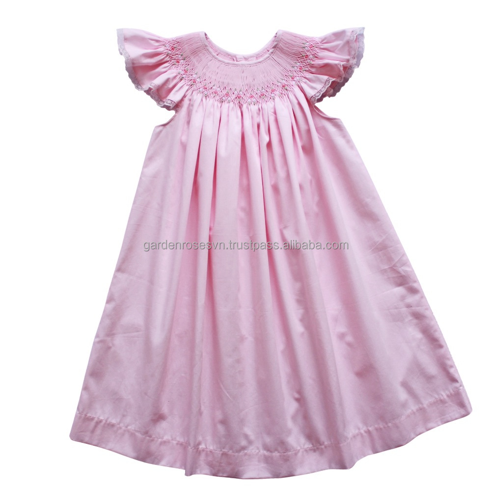 Baby Boutique Cotton Pink Hand Smocked Dress Summer Frock Design Baby Dress