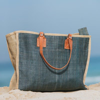 handmade straw tote ideal for the beach, pool and for shopping