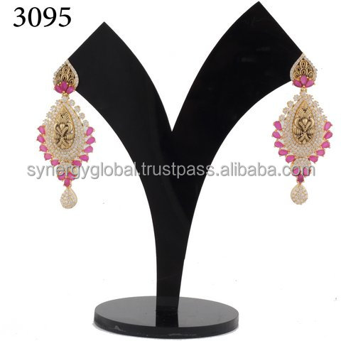 2016 New Style CZ earring-Wholesale CZ Jhumka earring - Wholesale Indian imitation jewelry