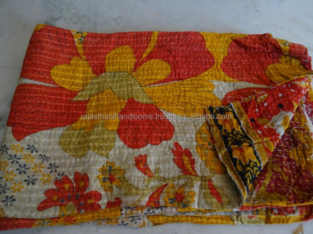 Indian Queen Size Kantha Work Quilts Throw Ethnic Bohemian Decor Ralli Bedspread