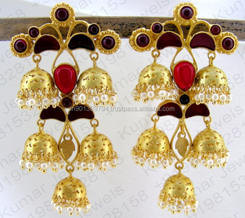 bdab2adae51 Long Golden Multi Dark Red Color Stone Gold Plated Moghul Style Pearl  Beaded Dangling Jhumka Earrings