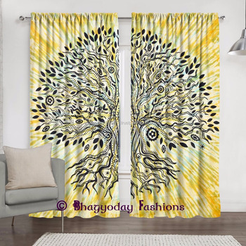 Stylish Room Divider Cotton Fabric Curtain Indian Window Treatment Tapestry  Drape Curtains