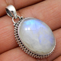 Natural Rainbow Moonstone 925 Sterling Silver pendant ,silver jewelry