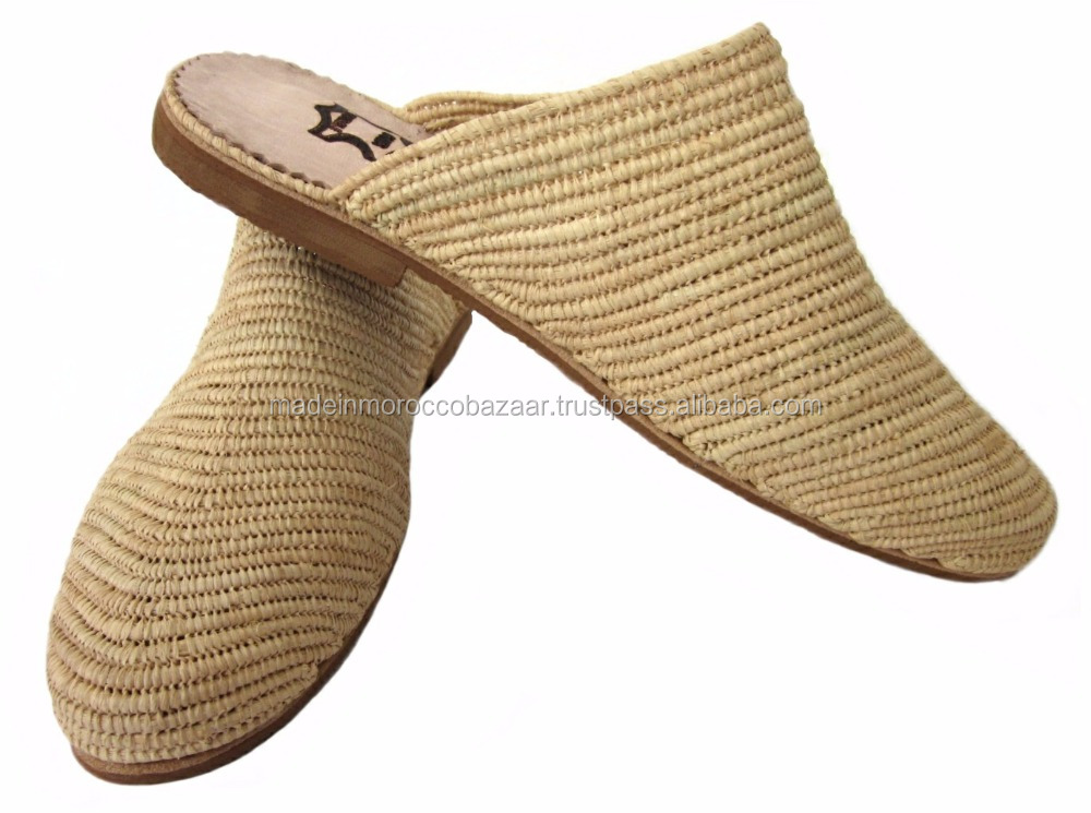 b903b367fa35 Gorgeous Moroccan Handmade Natural Raffia Fiber Slippers - Buy ...