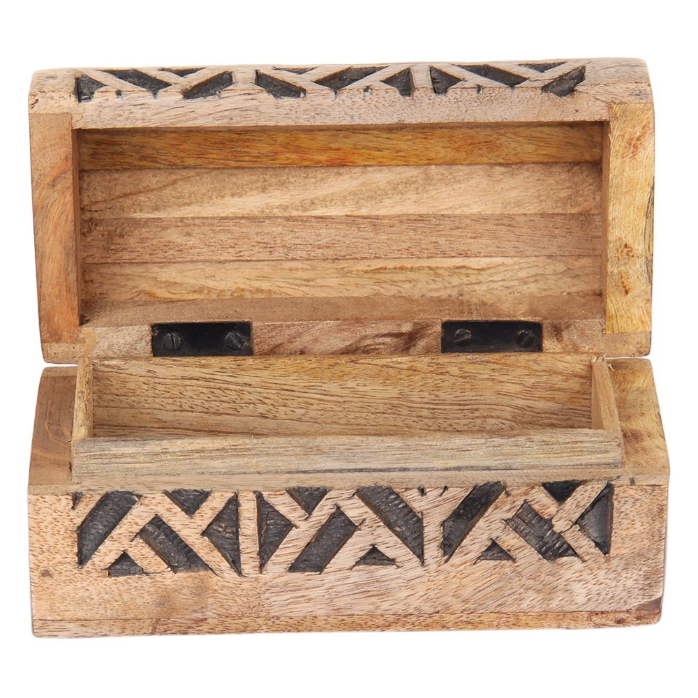 Rustic Wooden Jewelry Trinket Chest Box Multipurpose Keepsake Organizer With Hand Carved Geometric Pattern Women S Fashion Accessories