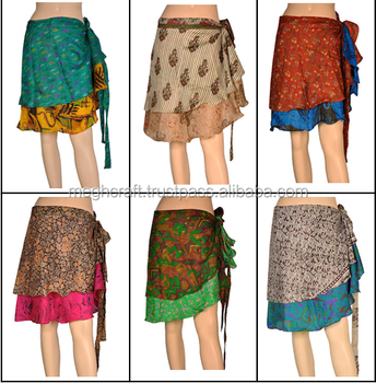 2016 Silk Wrap Around Skirt Wholesale Two Layer Silk Skirt Party Wear Skirt Beach Wear Mini Skirt Vintage Sari Skirts Buy Reversible Two Layer Silk Wrap Skirt Girls