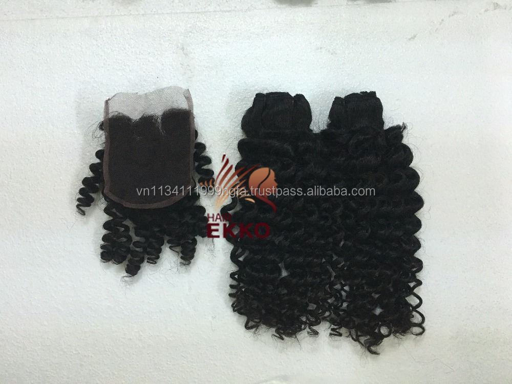 Beautiful Steamed curly lace closure Virgin Human Hair 4pcs/lot Deep Wave remy human lace wig French hair