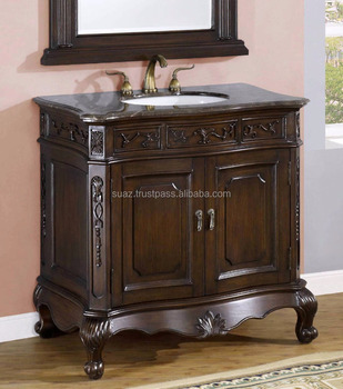 Solid Wood Carving Vanity Cabinets Carved Wooden Bathroom Furniture With Marble Basin