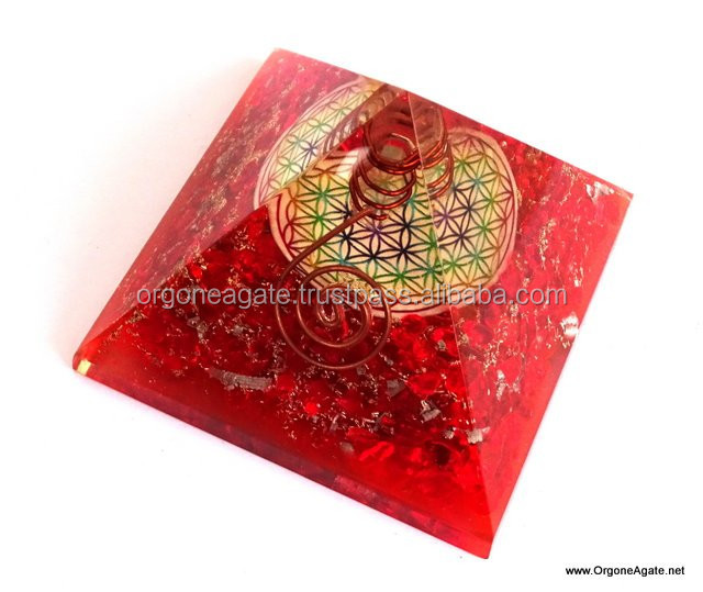 Reiki Pyramid | Big Orgone Energy Red Pyramid With Flower Of Life Symbol And Crystal Point | Chakra Products