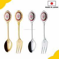 High quality ice cream spoon Silverware with a ceramic rose made in Japan