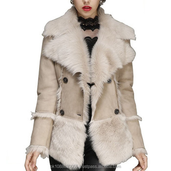 Women's Designer Toscana Leather Shearling Jacket Double Breasted ...