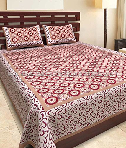 100% Cotton Indian Rajasthani Jaipuri Traditional Bed sheets With 2 Pillow Covers
