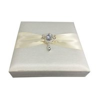 Rhinestone Wedding Brooch Embellished Ivory Boxed Wedding Invitation