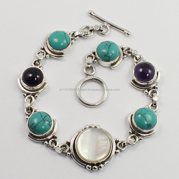 Designer Natural TURQUOISE,AMETHYST,MOTHER OF PEARL Gemstones Bracelet Jewelry 925 Sterling Silver